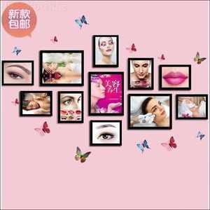 眉眼唇纹绣照片墙图片相框挂墙装饰画框美容院美睫护肤半定.。