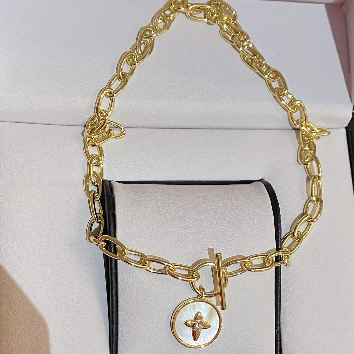欧美天然圆形白贝母项链星芒链条粗宽巴洛克锁OT型锁骨链