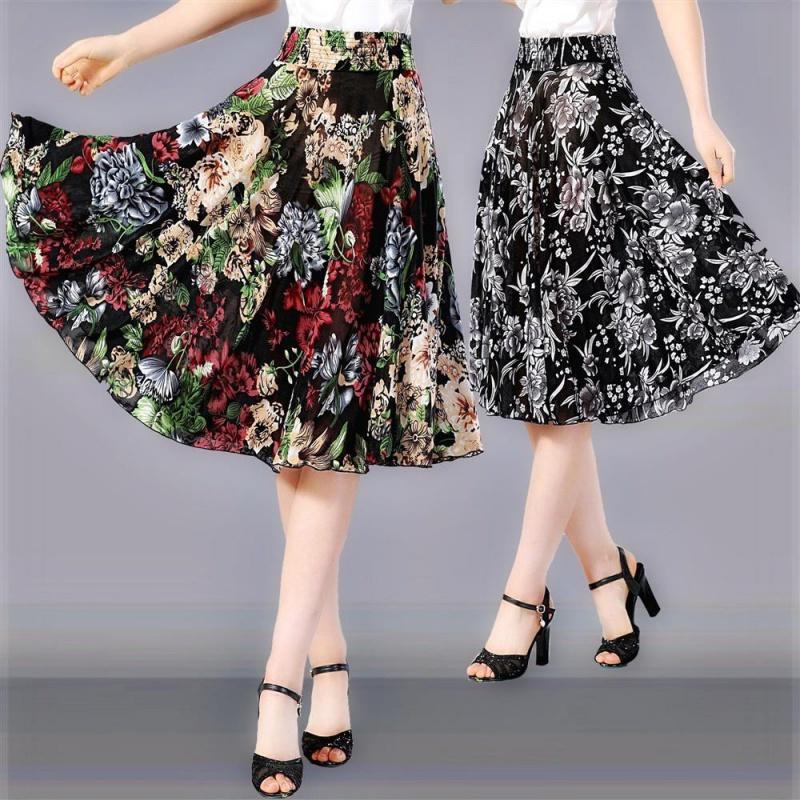 j7夏季中老年半身裙子碎花短裙中年妇女妈妈中裙冰丝跳舞太阳裙