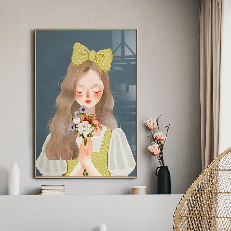 捧花女孩餐厅温馨北欧厨房风背景墙