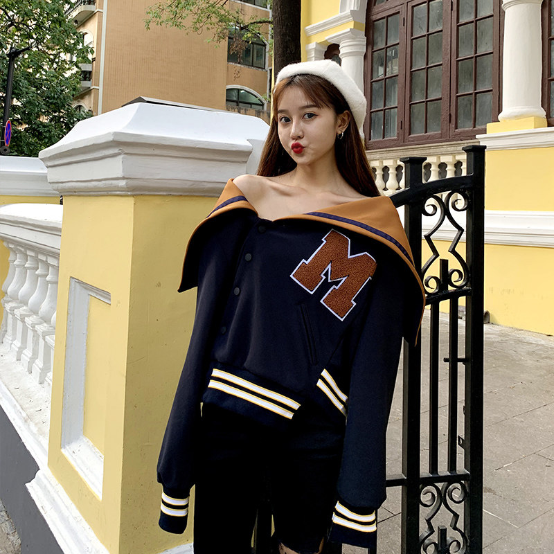 Cloaker Jacket Womens 2020 spring and Autumn New Navy style retro Short Student Korean loose jacket womens fashion