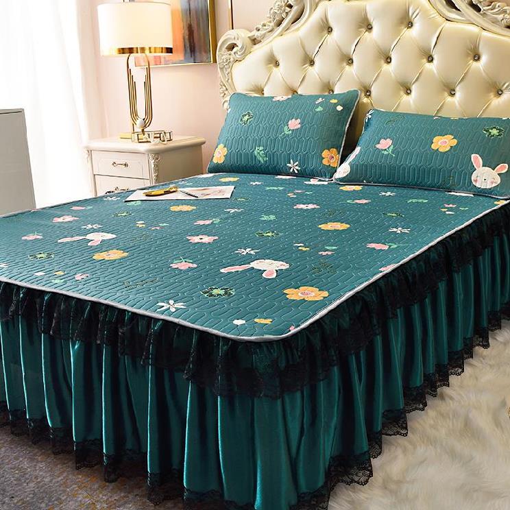 单个乳胶凉席夏季冰丝席三件套18m降细厘米折叠式寝具花边款_午睡