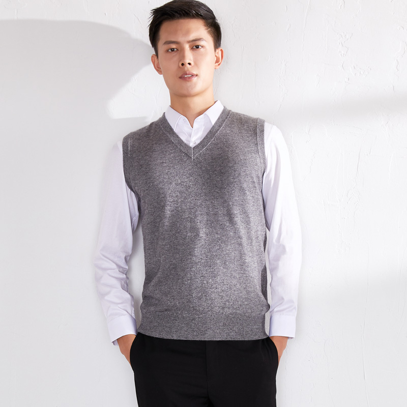 Mens thickened cashmere sweater 100% wool vest solid business winter sleeveless sweater V-neck Camille warm vest