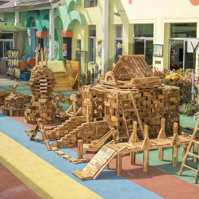 幼儿园户外超大型构建碳化实木积木防腐火烧炭烧大块儿童木质玩具