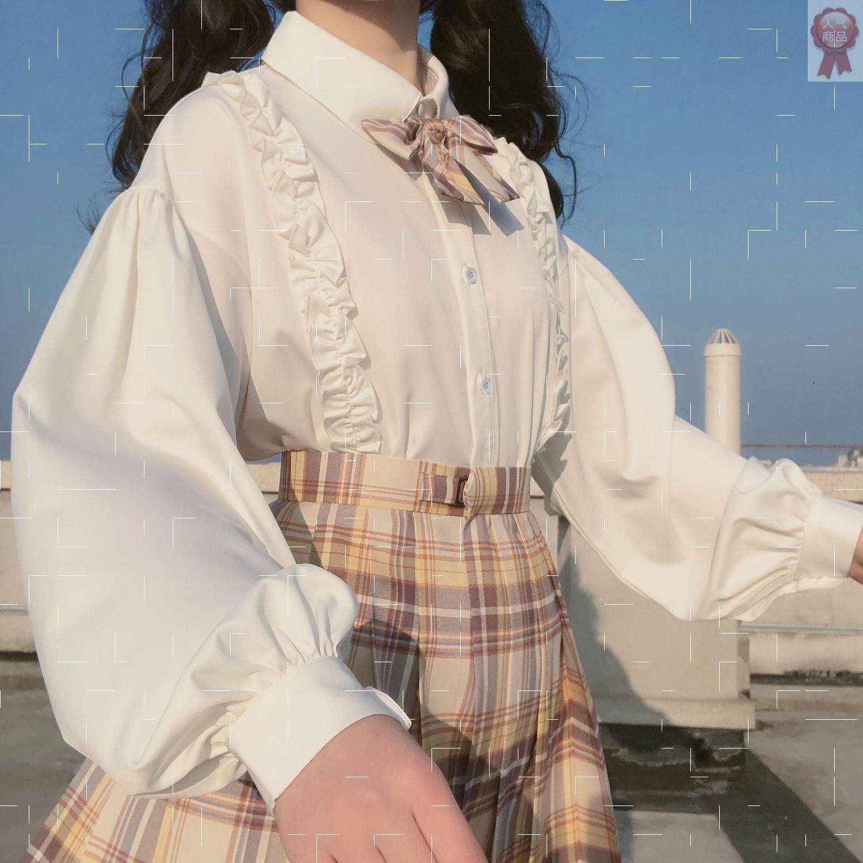 Japanese soft girl lovely lace Lolita with long sleeve white shirt female student Korean loose Lantern Sleeve Top