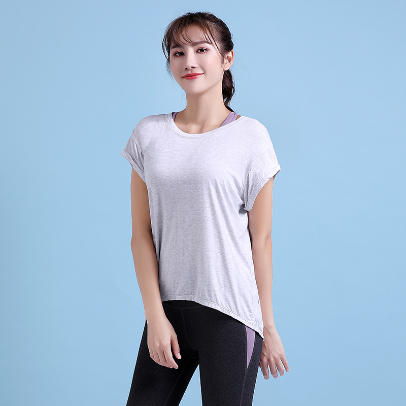 Ex.vibe Sports Top Womens summer loose fitness clothes running blouse quick drying T-shirt long yoga clothes short sleeves