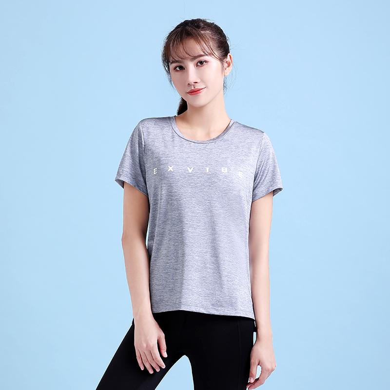 Ex.vibe Yoga short sleeve long T-shirt womens loose yoga clothes light top sports running short sleeve blouse