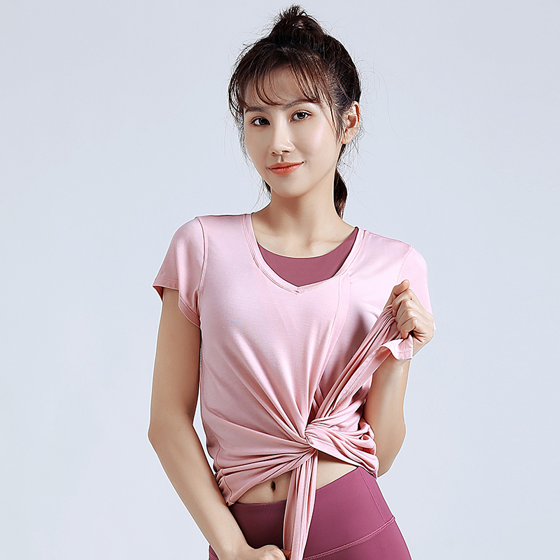 EX.VIBE Sportswear womens summer loose fitting fitness suit running blouse quick drying T-shirt long Yoga suit short sleeve