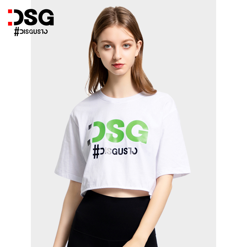DSG fashion 2021 summer new navel exposed loose cotton short sleeve T-shirt womens short letter printed top