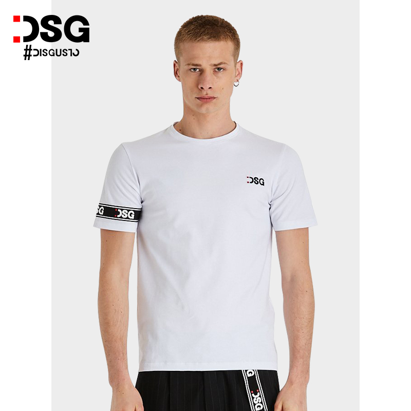DSG fashion summer T-shirt short sleeve 2021 new mens Embroidery logo pure cotton loose top street sports trend