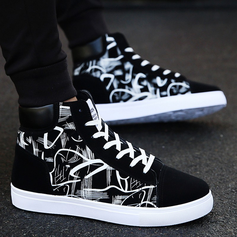 Autumn mens high top shoes Korean mens casual gaobang shoes black and white pattern high waist sports shoes mens flat shoes