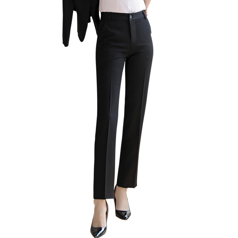 Black trousers womens straight tube high waist summer high waist nine point work pants suit pants formal professional pants