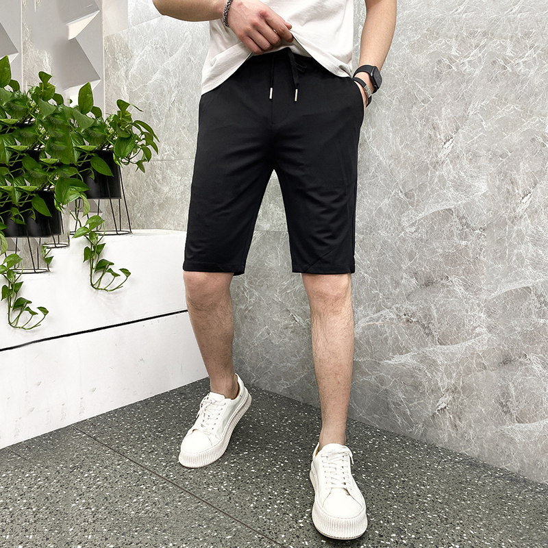 Summer 2021 mens trendy casual Capris thin breathable straight middle pants slim shorts for men
