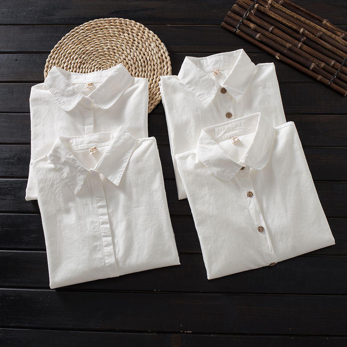 小清新基础款宽松纯棉白衬衫打底衫
