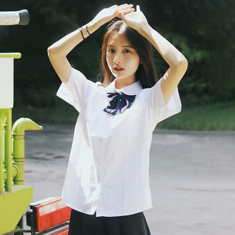 制服上衣衬衣jk夏季学院风立领白衬衫短袖内搭女宽松长袖百搭学生