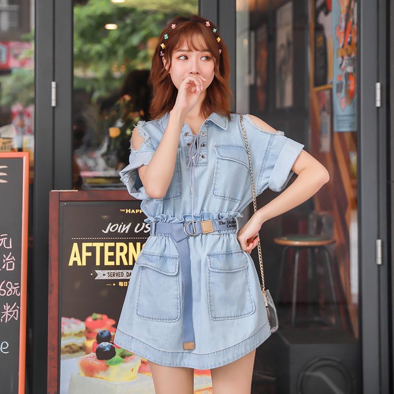 Dress womens off shoulder hole thin Denim Short Sleeve large swing waist A-line skirt medium length 2020 new one-piece summer dress