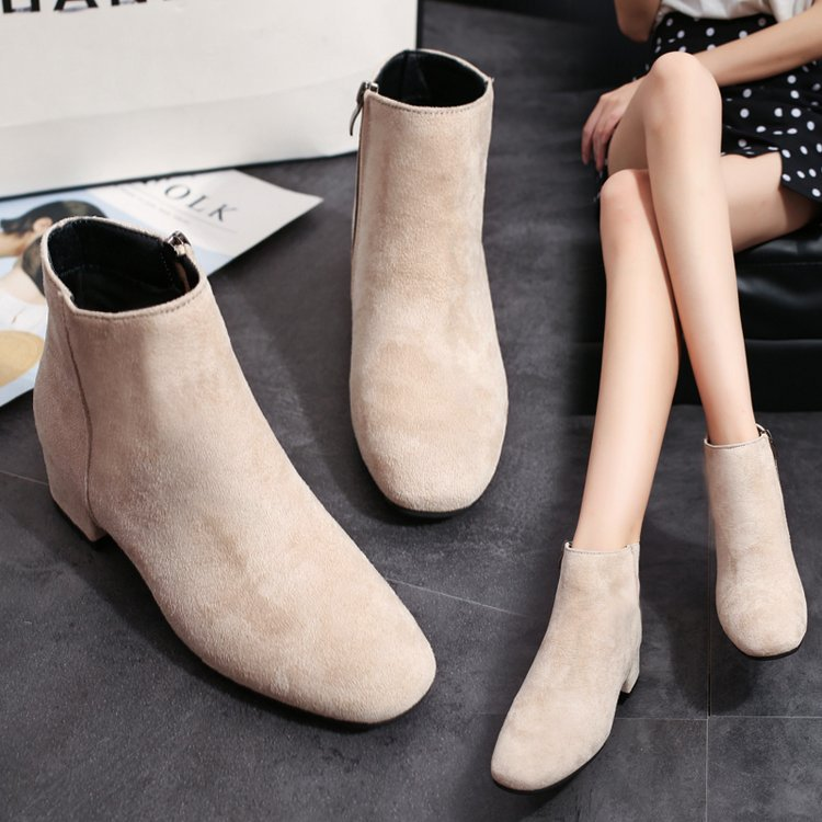 Fall 2020 new Mid Heel thick heel simple Korean suede womens shoes