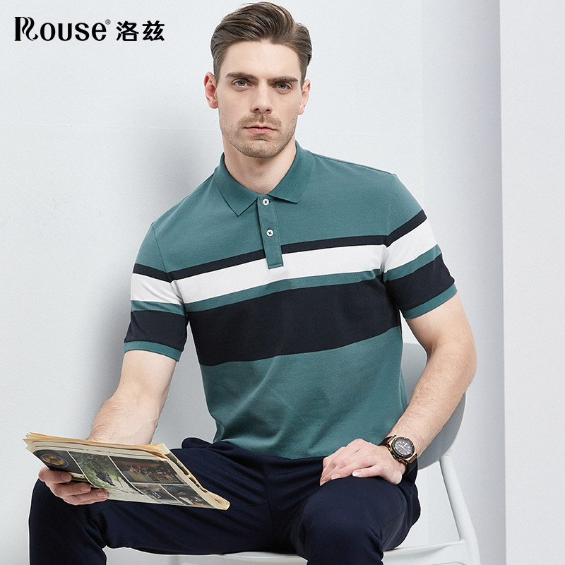 LOZ mens short sleeve t-shirt mens 2021 summer new young and middle-aged business stripe relaxed casual polo shirt