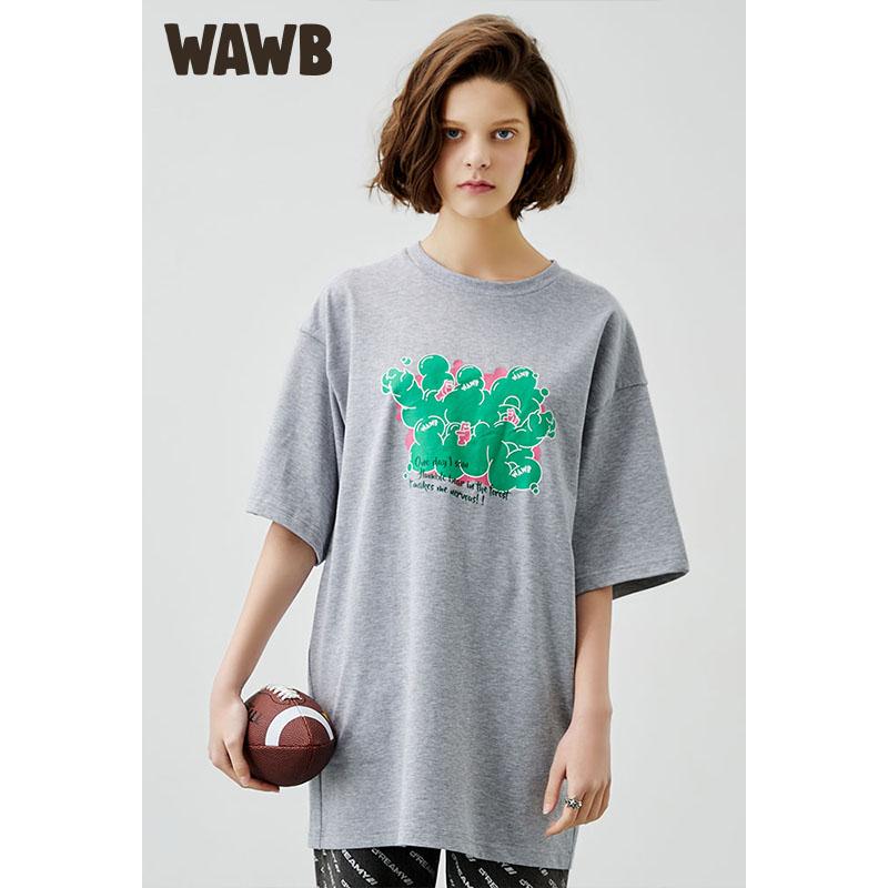 Wawb 2021 summer new graffiti hand-painted printing short sleeve cotton crew neck loose casual fashion brand t-shirt men and women