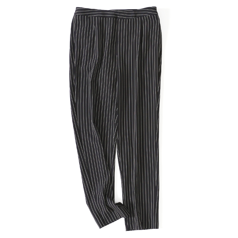 W系列时光和美丽皆由你掌握经典竖条纹高腰九分裤女显瘦锥形裤