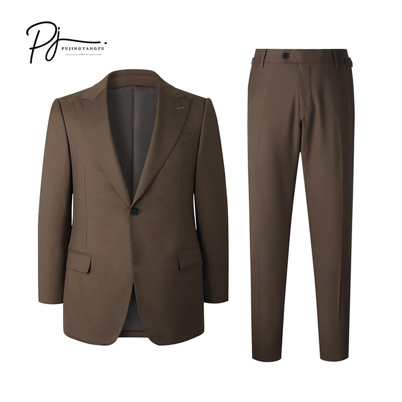 New autumn brown wool Lapel slim suit in Portuguese capital