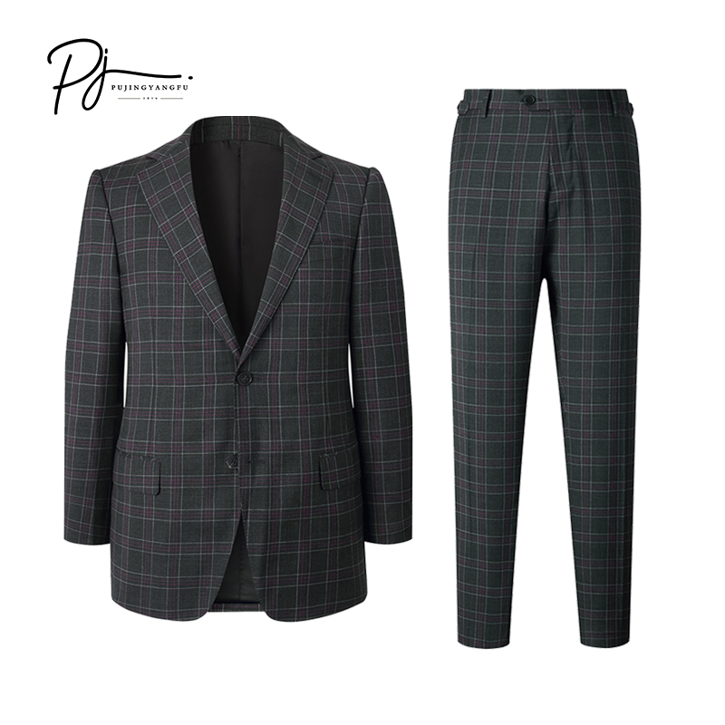 New autumn style dark Plaid Wool lapel collar slim suit for Pujing