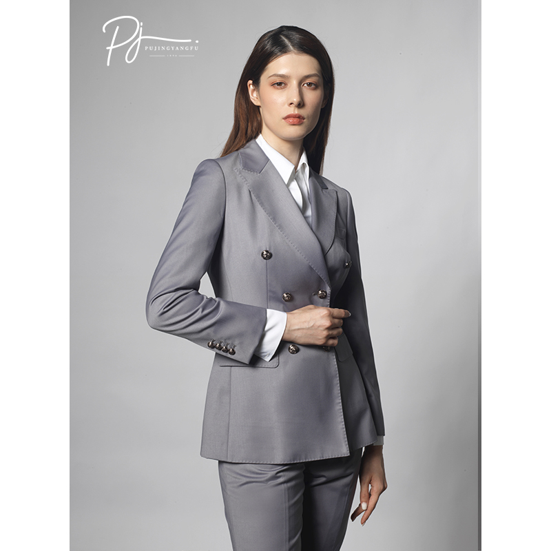 Lisboa suit grey suit suit female British style slim fit high-end double breasted temperament thin womens suit