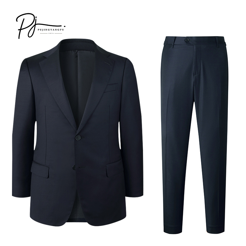 Portuguese New Mens suit business casual fit Navy Blue imported pure wool suit man