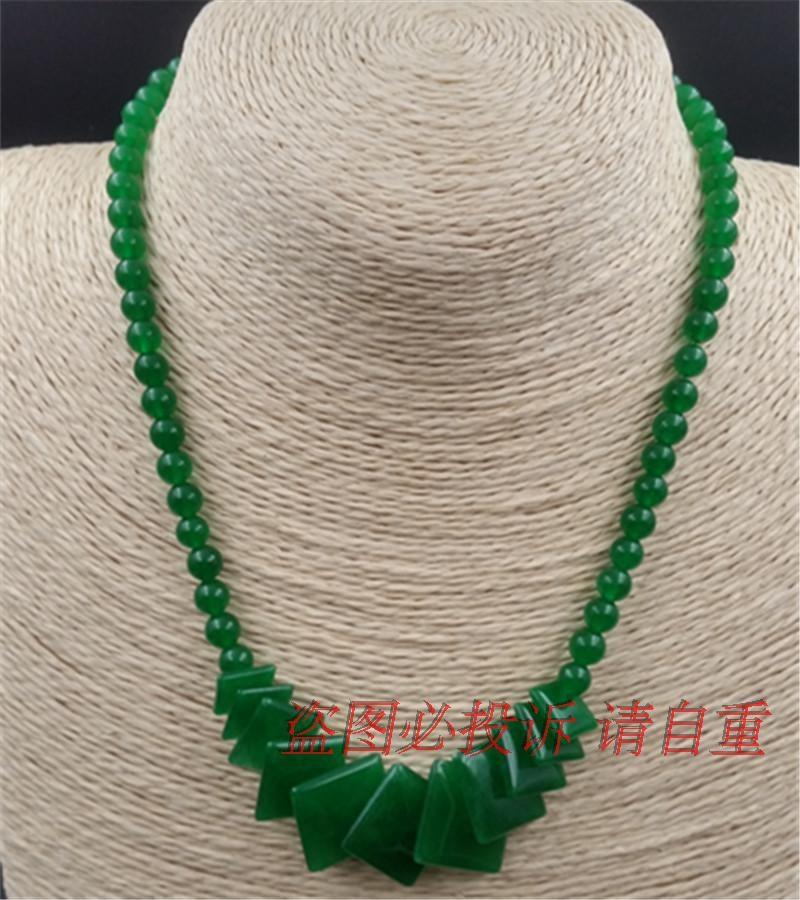 马来玉满绿翠色方片塔链圆珠项链锁骨链女款送爱人送妈妈 Изображение 1