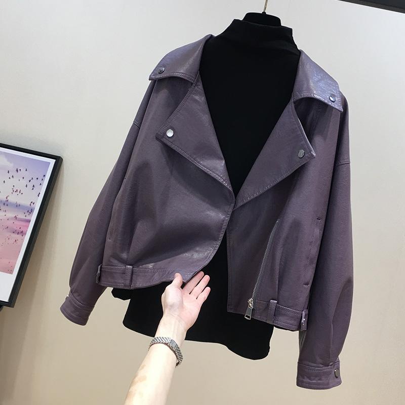 紫色小皮衣外套女短款2021春秋新款宽松潮流时尚机车真皮夹克上衣