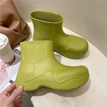 阿希哥mona同款雨靴女时尚外穿牛油果绿厚底增高防滑水鞋短筒雨鞋
