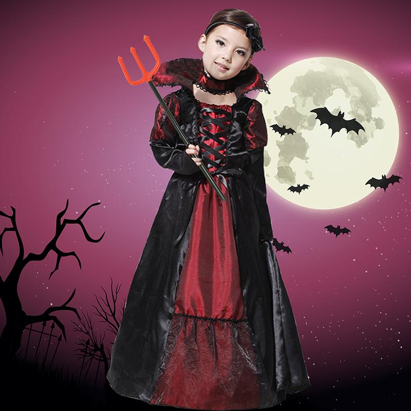 。儿童蝙蝠吸血鬼演出服cosplay恶魔化妆表演舞会女童裙服装