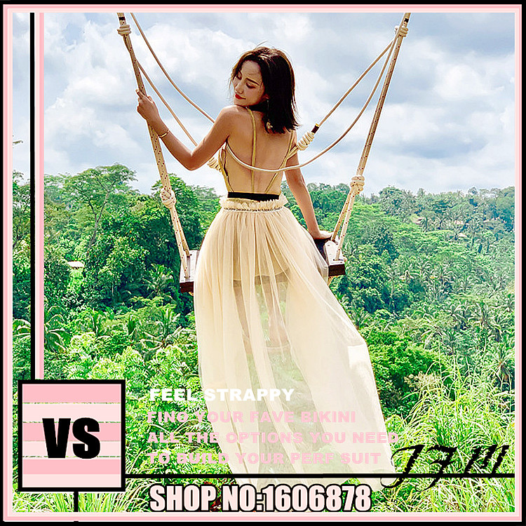 Korean tassel super fairy mesh holiday long skirt Vito vs blouse skirt Leah beach skirt Secret Sexy backless