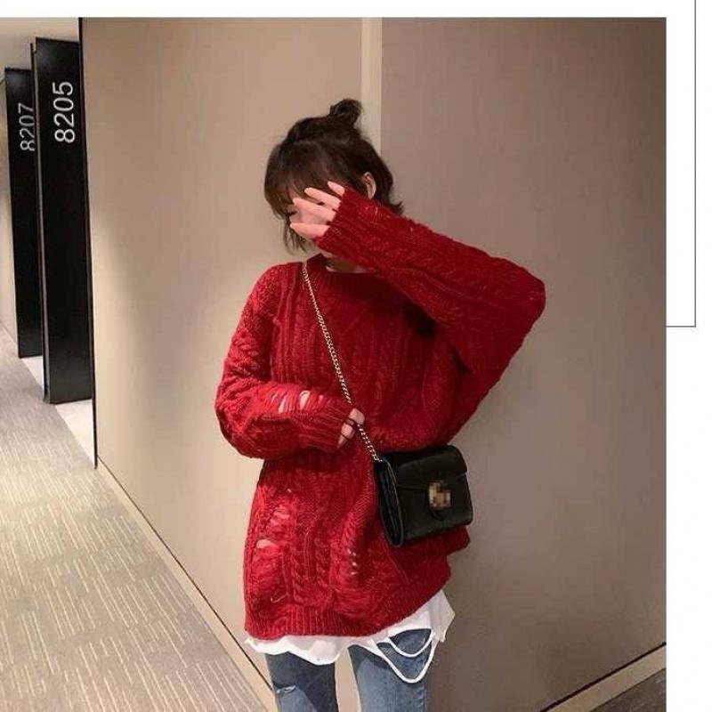 网红慵懒风麻花破洞毛衣女士宽松外穿纯色针织衫韩版圆领套头上衣