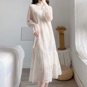 仙女裙半高领显瘦2020秋冬新款蕾丝连衣裙长袖中长款打底加绒加厚