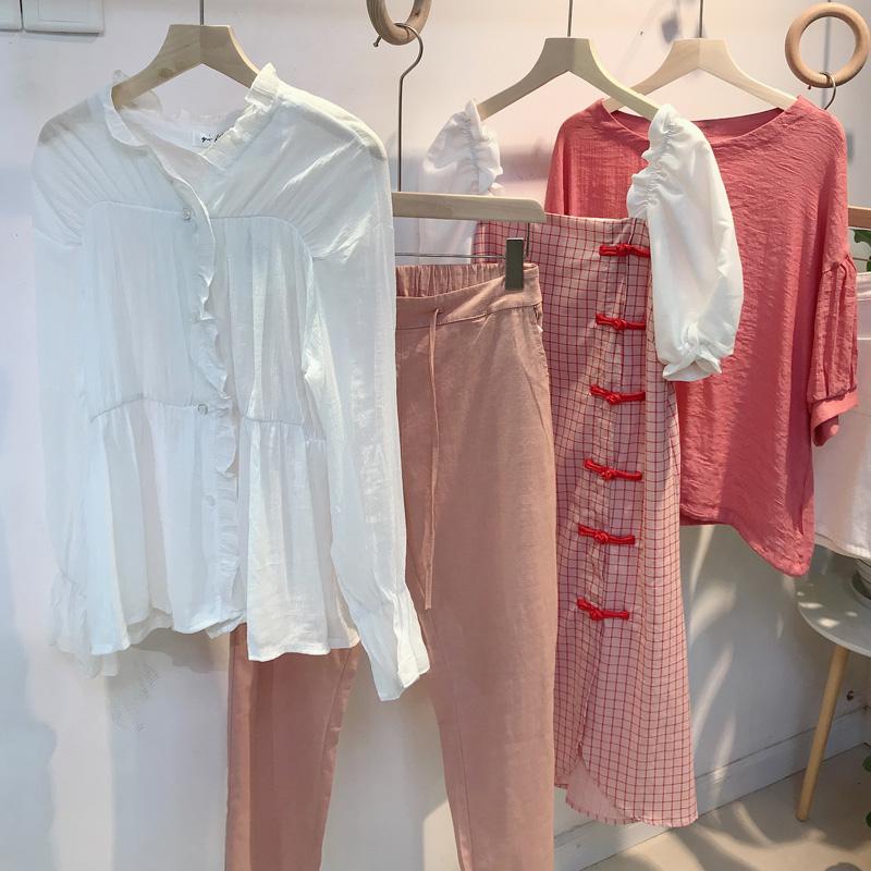 Spring and autumn 2020 new Korean fashion long sleeve Lavender lotus leaf Shirt Top wooden ear edge elegant shirt woman