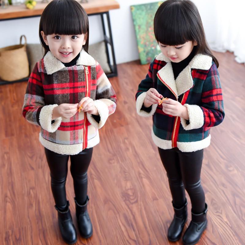 中國代購 中國批發-ibuy99 大衣女 女童外套春秋装女孩韩版洋气毛呢大衣儿童羊羔绒秋冬加厚短款上衣