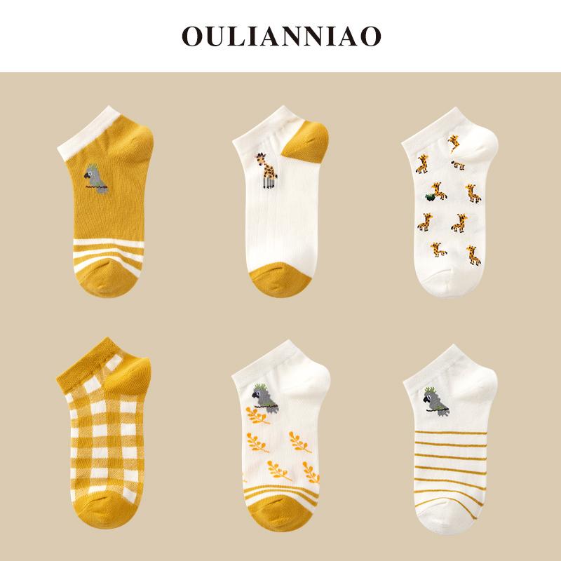 袜子女短袜船袜浅口卡通动漫日系ins潮夏季薄款透气吸汗短筒棉袜
