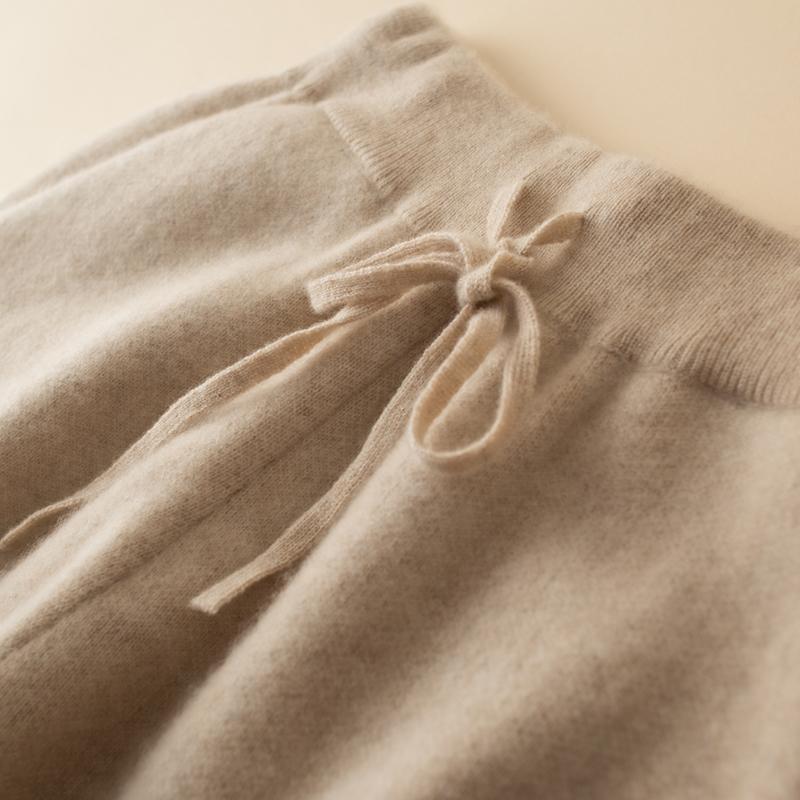 新款羊绒针织小脚裤女休闲束脚带兜运动长裤修身哈伦铅笔羊毛裤子