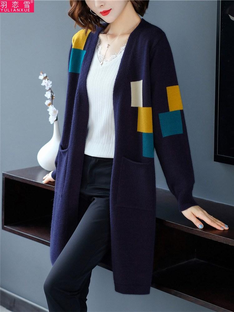 加肥加大码胖mm200斤秋冬加厚针织开衫女宽松中长款毛衣外套洋气