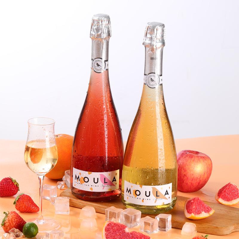 慕拉桃红起泡酒莫斯卡托白葡萄酒甜型气泡酒香槟低度女士微醺甜酒