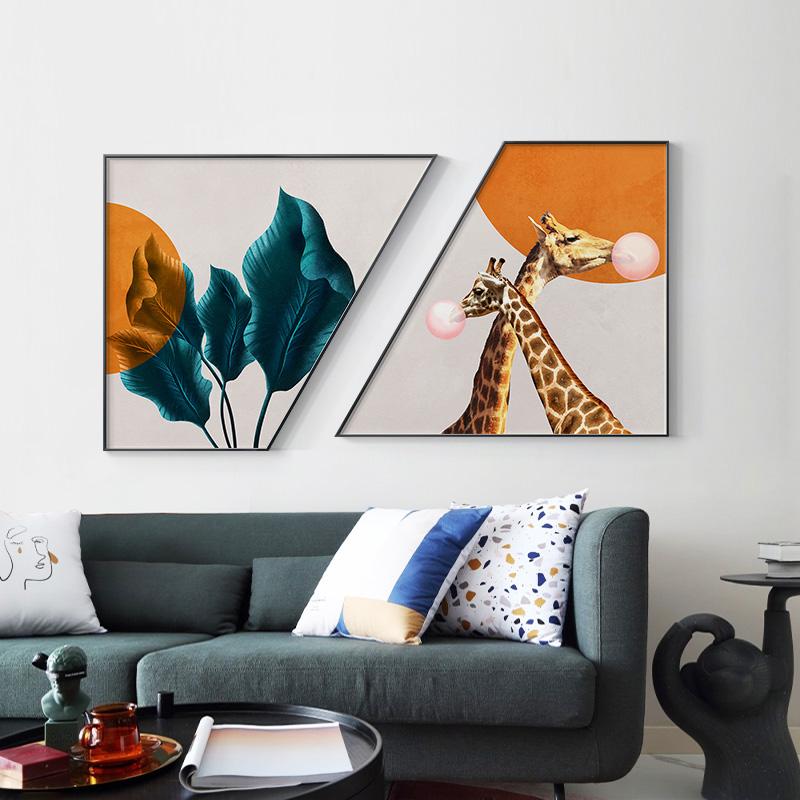 现代简约长颈鹿泡泡客厅卧室装饰画