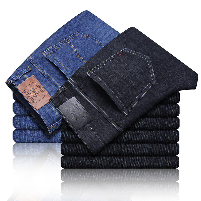 New spring and summer mens jeans casual jeans straight pants business loose jeans mens