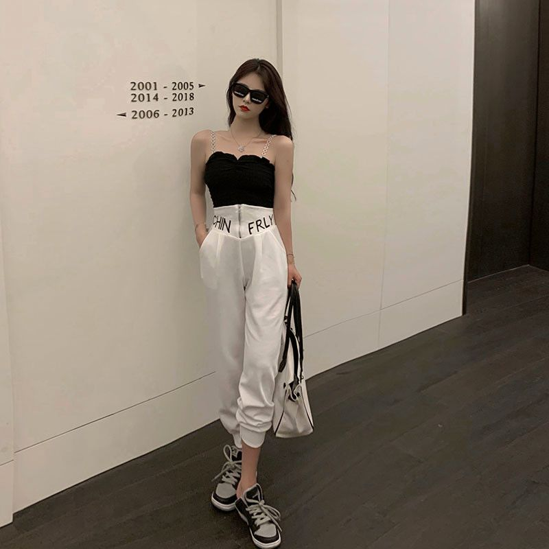 2021 spring new Hong Kong style fashionable knitting suspender + letter embroidery high waist insert bag Leggings casual pants