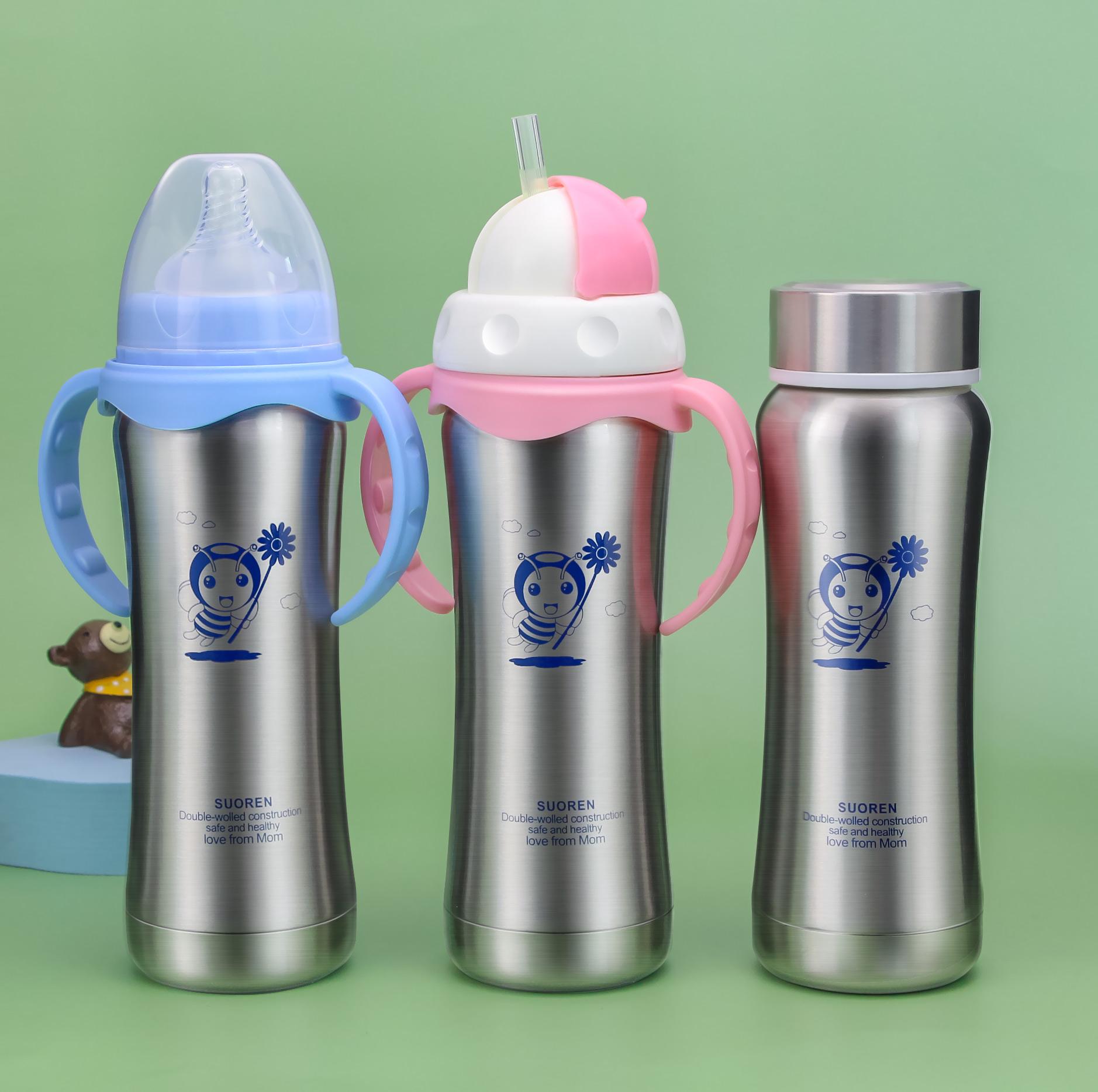 宝宝不锈钢保温奶瓶宽口径新生儿婴儿儿童两用保温杯带吸管手柄
