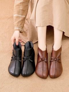 真皮短靴女春秋款牛皮复古妈妈棉鞋加绒软底皮鞋中老年民族风女鞋