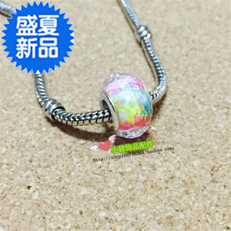 Colorful glass bead big w hole Bead Leather Rope Bracelet snake chain string bead spacer accessories DIY handmade jewelry material