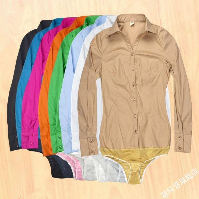 V领职业工作服连体衬衫带内裤显瘦女衬衣长袖弹力职业装职场棉XXL