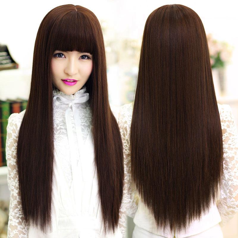 Wig, female long straight hair, air bangs, lifelike hair, whole head cover, natural trimming face, bangs, net red long hair