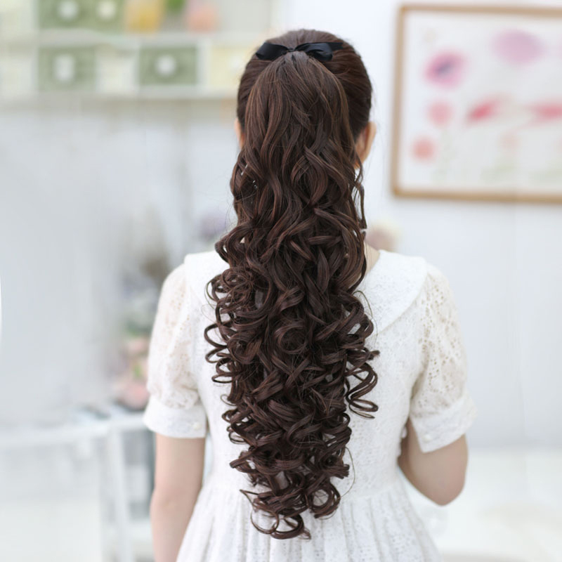 Wig female long hair bandage curled ponytail false braid fluffy corn hot wig piece instant noodles roll bandage type long curly hair